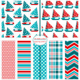 Seamless Background Patterns - Sailboat Prints 1 Stock Image