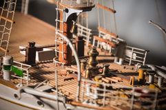Sailboat prow. Detailed wooden sailboat prow, model Stock Image
