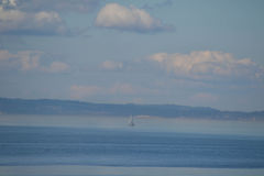 Sailboat on Puget Sound, Seattle, Washington Royalty Free Stock Photo