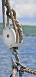 Sailboat Pulley. Rope, block & Tackle Pulley on a Sailboat Stock Photo