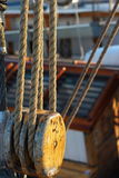 Sailboat pulleys detail Royalty Free Stock Image