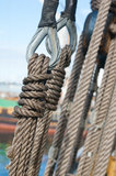 Sailboat pulleys and ropes detail Royalty Free Stock Photos