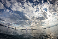Sailboat during a race Stock Photography