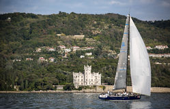 Sailboat during a race in the Gulf of Trieste Royalty Free Stock Photography