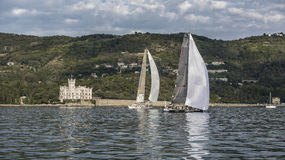 Sailboat during a race in the Gulf of Trieste Royalty Free Stock Photos