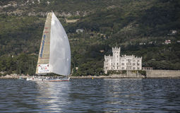 Sailboat during a race in the Gulf of Trieste Stock Photos