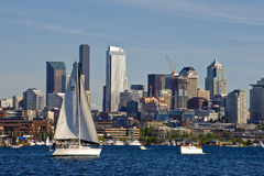 Sailboat race in Seattle Stock Image