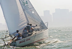 Sailboat racing on the bay Royalty Free Stock Photo