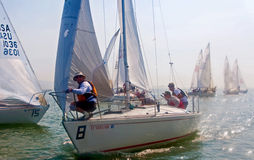 Sailboat racing on the bay Royalty Free Stock Images