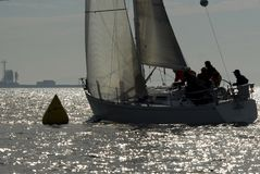 Sailboat Racing on Puget Sound, Seattle, Washington State. Salinig Races in the Pacific Northwest USA Stock Photo