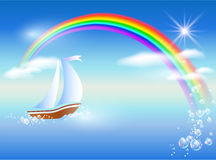 Sailboat and rainbow Stock Image