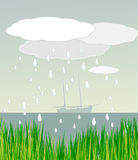 Sailboat in Rainy weather Stock Image