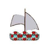 Sailboat recreation travel color sketch Royalty Free Stock Image
