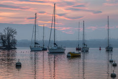 Sailboat and Red Dawn II Royalty Free Stock Photos