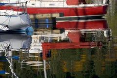 Sailboat Reflections Deep Cove Vancouver BC Stock Image