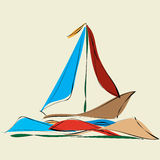 Sailboat and reflexes in the sea waves Royalty Free Stock Photos