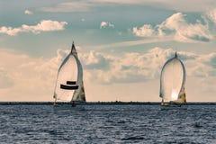 Sailboat regatta on Daugava river Royalty Free Stock Photography