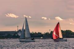 Sailboat regatta on Daugava river Stock Images