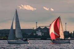 Sailboat regatta on Daugava river Stock Image