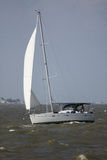 Sailboat. Returning from Gulf Of Mexico. Sailing in Seabrook Bay near Kemah Royalty Free Stock Photos