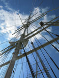 Sailboat Rigging. Rigging rope-work on a sailboat Royalty Free Stock Photos