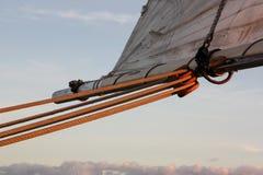 Sailboat rigging on an evening cruise Stock Photos