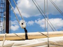 Sailboat Rigging. Showing Boom, Sail and Block and Tackle royalty free stock images