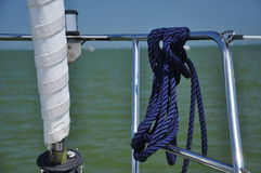Sailboat rope and railing detail Royalty Free Stock Photo