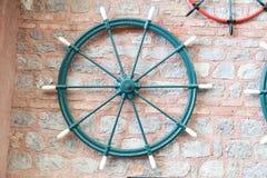 Sailboat Rudder on Wall Stock Photo