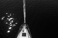 Sailboat's bow. B&w photo of a sailboat with copy space Stock Photo