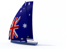 Sailboat with sail colored as australian flag Royalty Free Stock Photography
