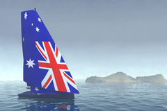 Sailboat with sail colored as australian flag on the sea. 3d illustration Royalty Free Stock Image