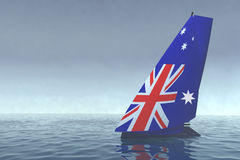 Sailboat with sail colored as australian flag on the sea Stock Image