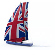 Sailboat with sail colored as UK flag Royalty Free Stock Images