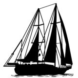 Sailboat Hand drawn, Vector, Eps, Logo, Icon, silhouette Illustration by crafteroks for different uses. vector illustration