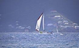 Sailboat sailing. Luxury sailboat sailing in the British Virgin Islands Royalty Free Stock Image