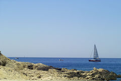 Sailboat sailing in Adriatic sea Stock Images