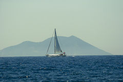 Sailboat sailing in Adriatic sea. Near Vis island  in Croatia Stock Photos