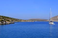 Sailboat sailing in the Aegean Stock Photo