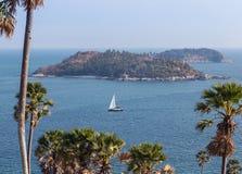 Sailboat sailing in andaman sea at laem phrom thep Royalty Free Stock Photos