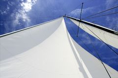 Sailboat sailing blue sea on sunny summer day Royalty Free Stock Images