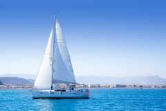 Sailboat sailing in Mediterranean sea in Denia Royalty Free Stock Image