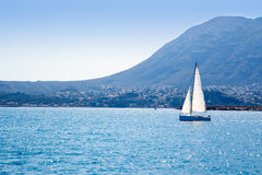 Sailboat sailing in Mediterranean sea in Denia Royalty Free Stock Images