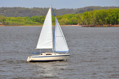 Sailboat Sailing. A sailboat on the Mississippi Stock Photo