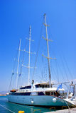 Sailboat sailing in the morning with blue sky stock images