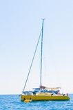 Sailboat sailing sail blue Mediterranean sea ocean horizon Stock Image