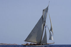 Sailboat. While sailing schooner with gait Royalty Free Stock Photos