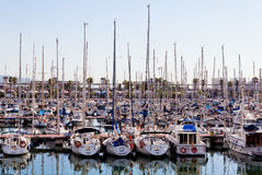 Sailboat and sailing ship in Barcelona. Sailboat and sailing ship Port Vell in Barcelona, Spain royalty free stock photography