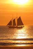 Sailboat sailing at sunset. Side view of old fashioned sailboat sailing in sea with golden sunset; beach in foreground stock image