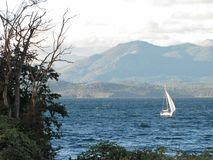 Sailboat sailing in the waters of Bariloche, Argentina. Royalty Free Stock Image